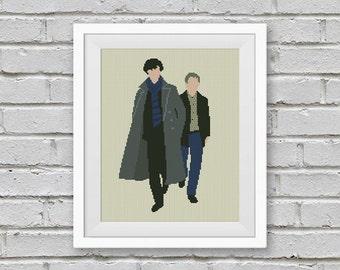BOGO FREE! Sherlock, Cross Stitch Pattern, Sherlock John Watson tv Show BBC Embroidery Sherlock Holmes Needlework Instant Download #028