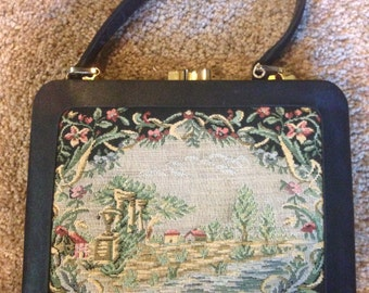 Vintage 1960's Black Tapestry Handbag
