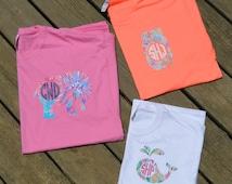 Designer Inspired Monogrammed Shirts, Women and Youth Monogrammed Shirt, Seahorse, Whale, Paw Print, Mason Jar, Anchor, Elephant, Turtle