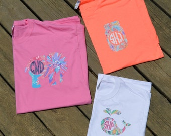 Designer Inspired Monogrammed Shirts, Women and Youth Monogrammed Shirt, Seahorse, Whale, Paw Print, Mason Jar, Anchor, Elephant, Turtle