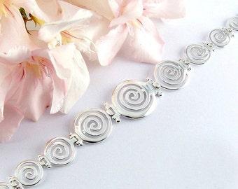 spiral silver bracelet, spiral bracelet, spiral jewelry, silver bracelet, greek bracelet, greek jewelry, Temple of the spirit bracelet