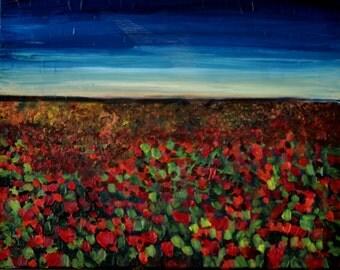 Landscape Oil painting flowers field