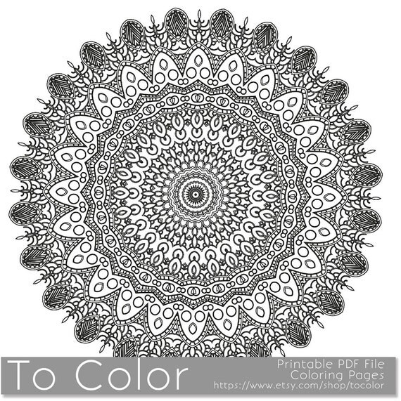 items similar to coloring sheet mandala pattern intricate printable coloring pages for adults