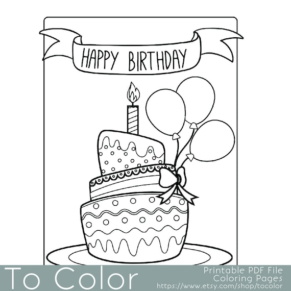 birthday coloring pages for adults - photo#36