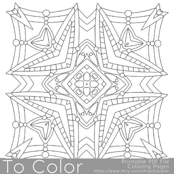 Items similar to Printable Square Mandala Coloring Pages ...