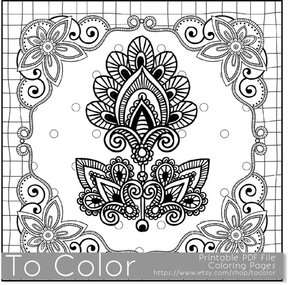 Items Similar To Printable Flower Frame Coloring Page For