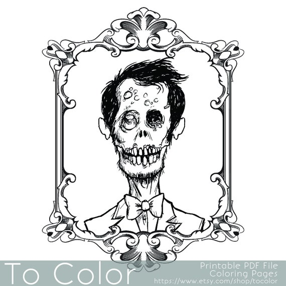 Items similar to Zombie Portrait Coloring Page for Adults
