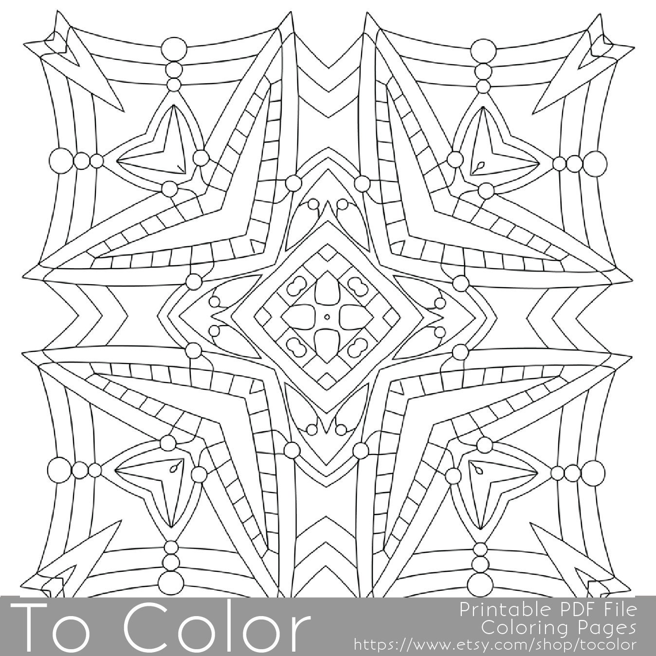 Printable Square Mandala Coloring Pages for Adults by ToColor