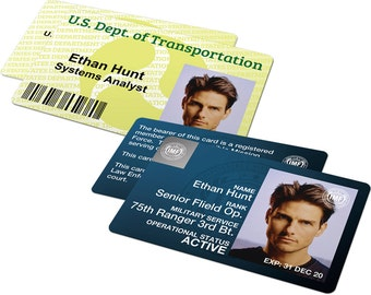 Custom ID Card Badge: Mission Impossible Set, IMF and Dept of Transportation, Impossible Mission Force, IMF, Cosplay Costume, Christmas Gift