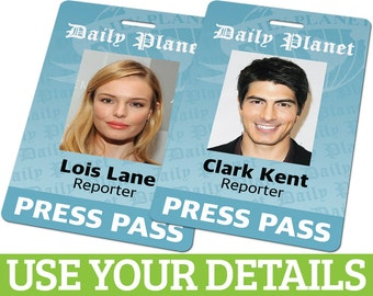Custom ID Card Badge: Daily Planet Press Pass from Superman, Cosplay Costume Gift, Clark Kent, Lois Lane, Birthday, Christmas