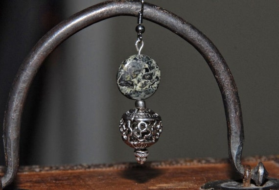 Earrings: Camouflage Jasper Gemstone Button Bead and Silver Filigree Metal Cage Ball Bead with beautiful headpins on Silver Hooks. FE-009