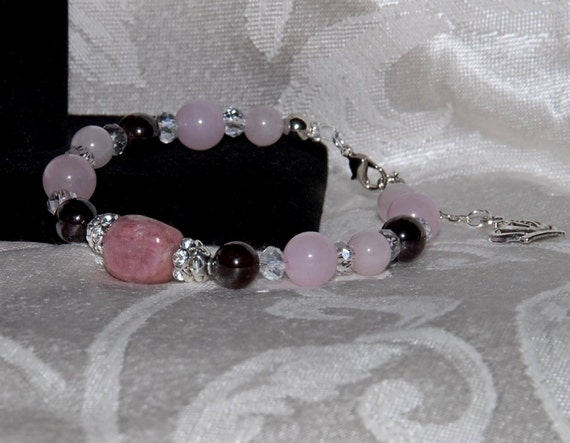 Gemstone Bracelet & Earrings Set with Rose Quartz, Garnet and Thulite stones. Rhinestone, Crystal Accents. 925 Sterling Silver Hearts Set004