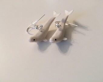 White Beluga Whale Earrings
