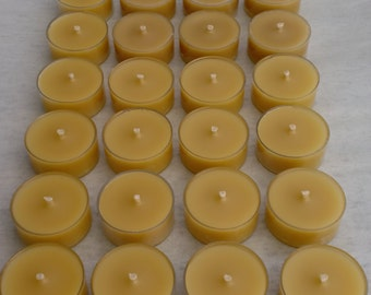 24 Beeswax Tea Lights in Clear Cups - Handmade Candles - Beautiful Honey Scent