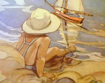 My Ship and I - Jessie Willcox Smith Nursery Print Framable - gift for new mothers 8 by 10 print