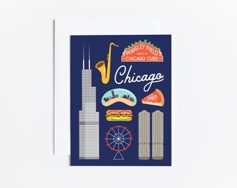 Chicago Greeting Card Illustration Travel Notecard California Modern Wall Art