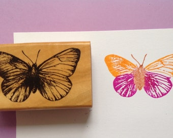 Butterfly wood mounted rubber stamp gently used