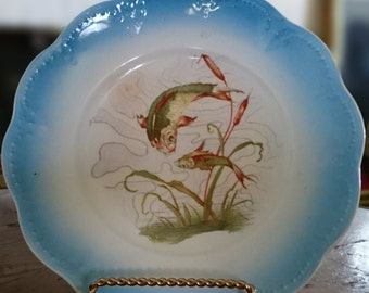 Blue Limoges China Fish Plate