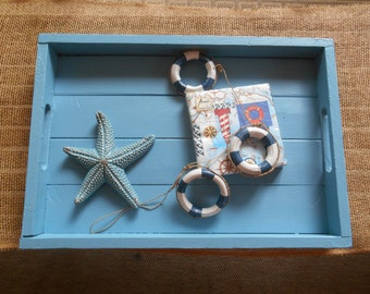 RUSTIC Blue Serving Tray,Large Serving Tray, Nautical Serving Tray, RUSTIC Wedding, Wooden Serving tray, Large Wood Tray, Beach Tray