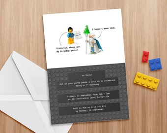 Lego party invitation - Editable and printable invite, suitable for use in Word or Pages. Lego theme. Print as many copies as you like.