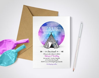 Sleep Over Party Invitation - Edit and Print as many copies as you like / Teepee Invite / Watercolour Invite / Hipster Invite / Sleep Over