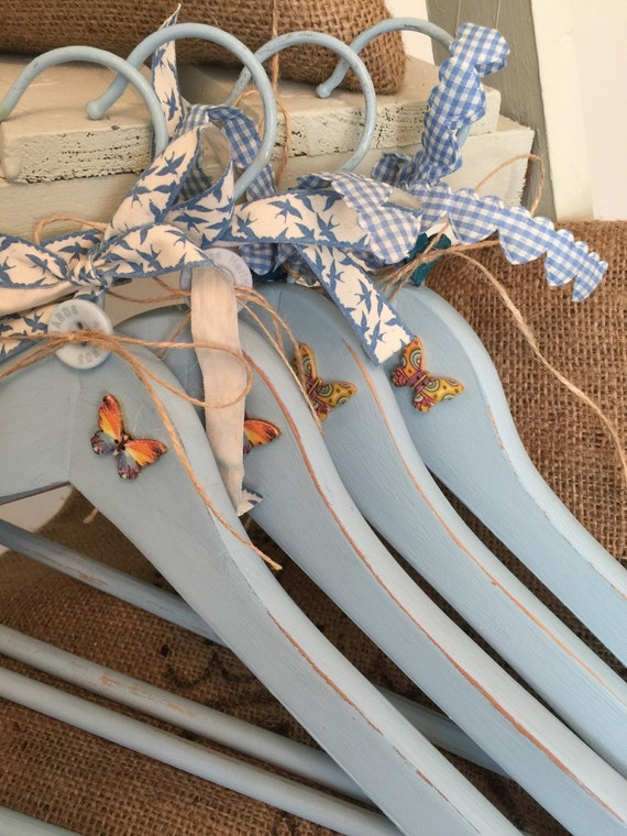 Blue Bridesmaids Hangers - Set of 4 Custom Personalised Wedding Hangers - Custom Painted Decorative Hangers - Set of Bridal Hangers