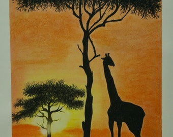 charcoal and dry pastel drawing of Giraffe in Africa at sunset with the frame