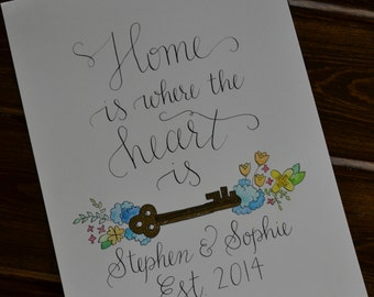 """Custom Family Established Hand lettered calligraphy """"Home is where the heart is"""""""