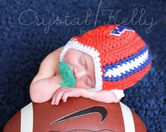 University of Florida Gators Inspired Crochet Baby Football Helmet Hat - Newborn, 0-3 Months, 3-6 Months, 6-12 Months