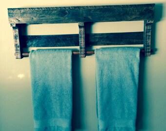 Rustic Wood Towel Bar