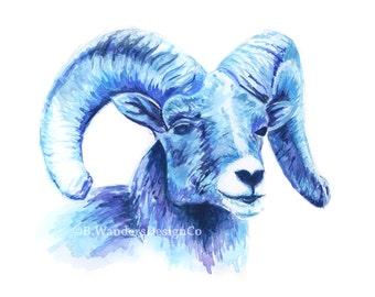 RAM WATERCOLOR PRINT - Tarheel, Unc, Carolina, Ram, Ram Painting, Ram Art, Ramsy