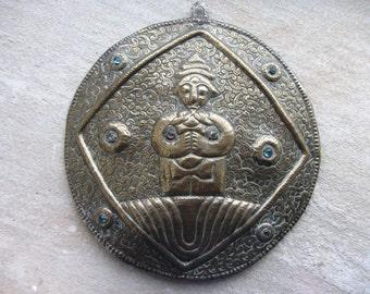 Rare Antique Tibetan Buddhist brass plaque, hand made hand chased wall hanging, applied glass stones. Tibetan art. Buddist art