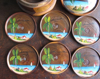 Vintage wood coasters, hand painted Jamaica souvenir, in container. 1950's retro kitsch, folk art, mid century hand painted beach scene