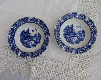 Vintage pair deep flow blue small bowls set of two nut dish. pickle dish, cobalt blue Willow pattern blue transferware Staffordshire Pottery