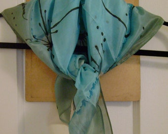 Hand Painted Silk Scarf - Light Blue and White