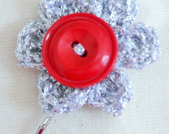 Hand Crocheted Hair Slide With Vintage Button, Silver
