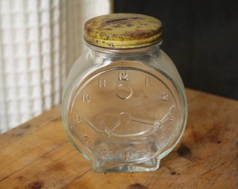 Glass Clock Bank - Vintage