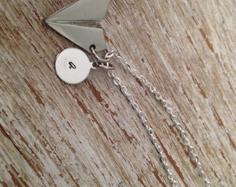 BFF / Initial airplane necklace / Best Friend jewelry / Initial necklace / Airplane charm / Hand stamped monogrammed necklace