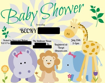 Zoo Animals Baby Shower Invitation
