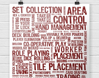 Board Game Mechanics Poster - Tabletop and Hobby Gaming Decor - Boardgaming Art for BoardGame Geeks - Geeky Goodies