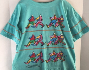 Peter Max, Neo Max, wearable art shirt, 1987, size Large, Groovin