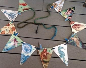 Mermaid Ocean Sea Vintage Bunting Banner
