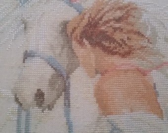 Girl with horse  Xstitch wall pictire