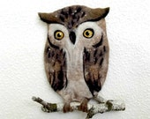 OWL Wet Felted wall panels,interior decoratio ,felt wall decor, handmade, OOAK, Wet Felted Ready to Ship