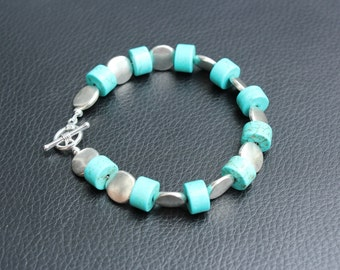 Turquoise Bead Bracelet with Silver Discs