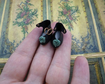 "Black tiny leather shoes for antique German or French mignonette doll length 55/64"" (22 mm), handmade gifts"