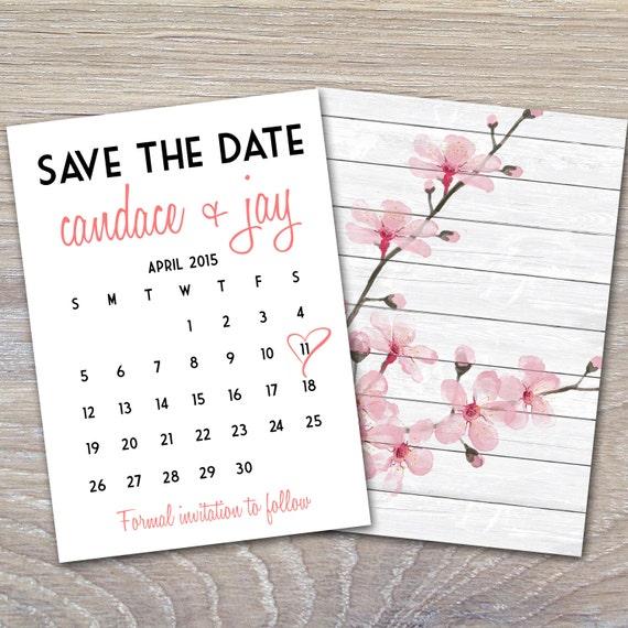 cherry blossom calendar save the date card printable