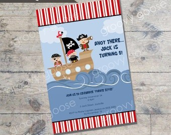 Jolly Pirates kids party invitation DIY Printable PIRATE theme party printable invitations Personalised invitation