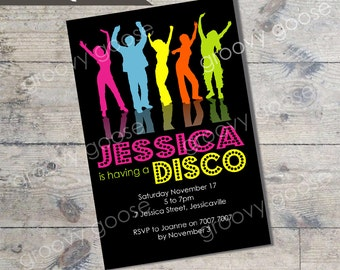 Disco kids party invitation DIY Printable Disco theme party printable invitations Personalised invitation Dance party invitation