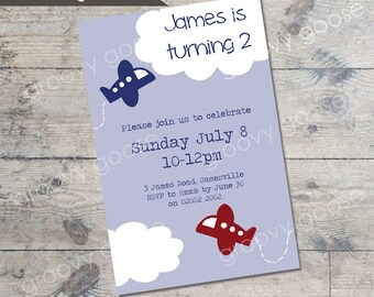 Flying High Party kids party invitation DIY Printable AEROPLANE THEME party invitation